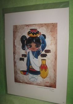 Zuni Water Maiden Bright Eyes Native American Southwest Art Signed by Artist #NativeAmerican