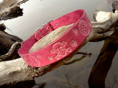 Cool handmade custom leather pink dog collar with embossed skulls and hearts on Etsy, $35.00
