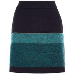 Karen Millen Stripe Mini Skirt (£110) ❤ liked on Polyvore featuring skirts, mini skirts, blue multi, women, blue mini skirt, mini skirt, striped mini skirt, front zip skirt and striped short skirt