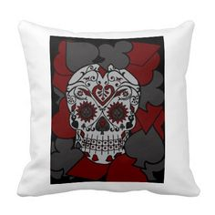 Playing Card Suits Sugar Skull Throw Pillow