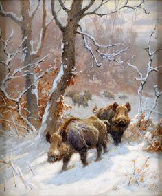 Georges-Frédéric Rötig (1873-1961) - Wild boar in the snow, gouache, 22 x 18 cm. 1905.