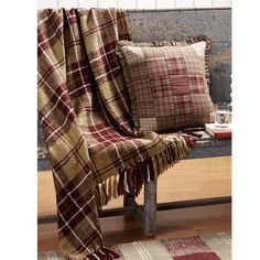 """The Everyson Acrylic Woven Throw features soft acrylic yarn in a large scale tan and burgundy plaid with crisp white accents. Trimmed with tassels on both ends.  Yarn Woven and Weaving Loom. Measures 60"""" x 50""""."""
