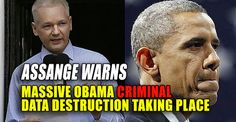 """Another warning has been issued by Julian Assange of an unknown number of crimes that are occurring now, across the Obama criminal operation, the elimination of evidence of their crimes through the destruction of public records. Assange is offering a $30,000 reward to any regime employee publicly exposing the official destruction of such information. In a Monday interview, he said more needs to be done to protect those valuable records. Assange was asked, """"What is the most important thing we…"""