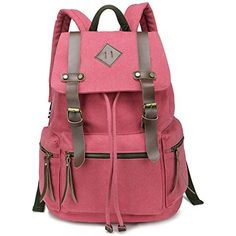Canvas backpack - Womens Vintage Canvas Backpack Schoolbag Rucksack Rose red  Hotoop http    0caff2472554d