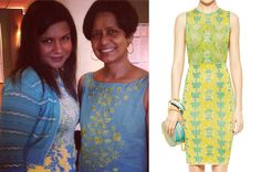 Mindy Kaling wears a turquoise and yellow jacquard pattern knit dress, Instagram, June 15th 2013./// M Missoni Metallic Hibiscus Dress
