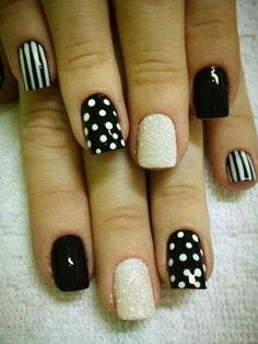 Cute Stripes, Polka Dots, and Loose Glitter Nail Art