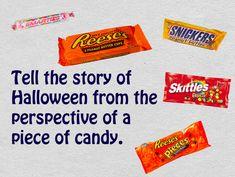 Vertel het verhaal van Halloween vanuit het perspectief van snoepgoed