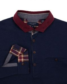 Ted Baker Corduroy Collar Long-Sleeve Polo