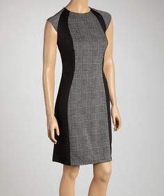 Take a look at this London Times Gray & Black Plaid & Ponte Sheath Dress on zulily today!