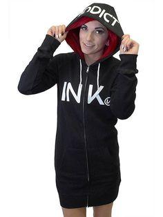 Women's Zip Hoodie Dress by Inkaddict (Black/White) #InkedShop #hoodiedress #hoodie #dress #ink #style #fashion #womenswear #womensclothing