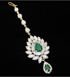 Green American Diamond Studded Maang Tika