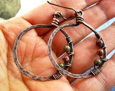 Wire Wrapped Jewelry Handmade Hammered Copper by KiawahCollectio