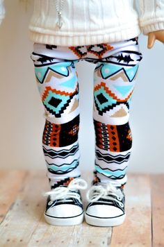 The Morgan leggings in tribal print for American Girl 18 inch doll clothes cute pants, capris Little Doll, My Little Girl, My Baby Girl, Baby Love, Cute Kids, Cute Babies, Baby Kids, Toddler Girls, Little Girl Fashion