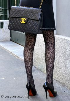 Wolford lacey tights revive Louboutin and Chanel wardrobe staples.