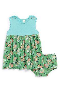 Tucker + Tate Sleeveless Crochet & Woven Dress (Baby Girls)   Nordstrom
