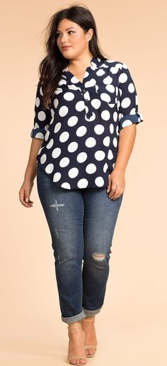 Plus Size Dot Craze Henley Top Clothing, Shoes & Jewelry - Women - Plus-Size - Wantdo - women big size clothes - http://amzn.to/2lfaYAF