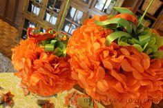Adorable tissue paper pumpkins!