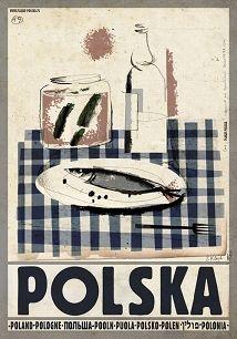 Ryszard Kaja - Polska, wódka, śledż, polski plakat turystyczny