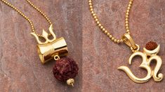 Gold Tone Pendant Studded With Rudraksha Designs Kids Gold Jewellery, Gold Rings Jewelry, Baby Jewelry, Gold Jewellery Design, Handmade Jewelry, Indian Gold Jewellery, India Jewelry, Kids Jewelry, Silver Rings