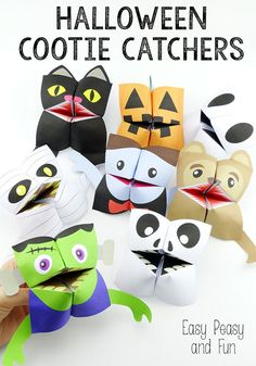 Halloween Cootie Catchers ~ Printables for the pumpkin and vampire can be downloaded free from the site. The center is blank, so teachers can add a number of skills. These would make great story starters.