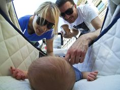 Baby's eye view. The Freitags captured this unique angle of newborn son Tim on his first day out on the town.