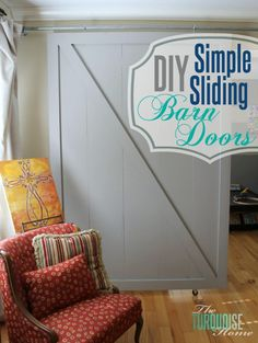 These Simple Sliding Barn Doors are an easy way to customize your home! #diy #barn #farmhouse | TheTurquoiseHome.com