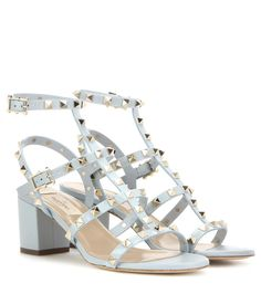 mytheresa.com - Rockstud leather sandals - Luxury Fashion for Women / Designer clothing, shoes, bags