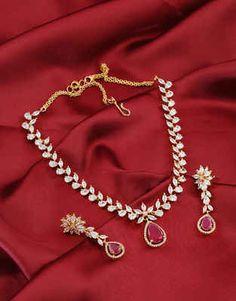 Diamond Jewellery: American Diamond Necklace Set for Women at Best Price Diamond Necklace Set, Diamond Choker, Diamond Jewelry, Stone Necklace, Gold Necklace, Bridal Jewelry, Jewelry Art, Fine Jewelry, Jewelry Design
