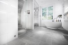 Stunning Bathroom with Bricmate Limestone Light Gray, Stunning Bathroom with Bricmate Limestone Light Gray …, Grey Bathroom Floor, Light Grey Bathrooms, Gray And White Bathroom, White Bathroom Tiles, Laundry In Bathroom, Bathroom Flooring, Bad Inspiration, Bathroom Inspiration, Bathroom Interior Design