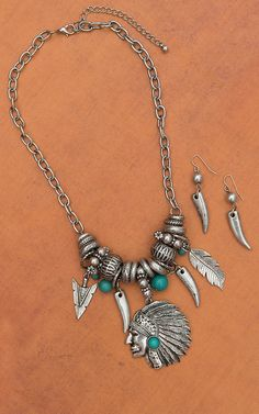 Silver Indian Charm Necklace & Earrings Set JN5333TQ