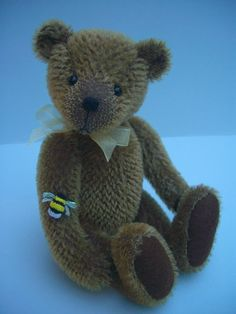 Barnaby is tall and made from short mohair with wool felt paws. His nose is hand embroidered and he is weighted with tiny steel bal. Bear Design, Applique Designs, Wool Felt, Kids Toys, Doll Clothes, Bears, Plush, Teddy Bear, Dolls