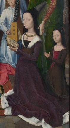 century (late Bruges Donni Triptych by Hans Memling, detail of Lady Elizabeth Donne and daughter Anne or Margaret London, National Gallery 15th Century Dress, 15th Century Clothing, 16th Century, Medieval Costume, Medieval Dress, Medieval Fashion, Medieval Clothing, Historical Costume, Historical Clothing