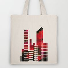 City Skyline - Paint The Town Red Tote Bag by Ally Coxon - $18.00