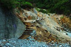 Las lluvias destruyeron el acceso a la playa en Pendueles. Concejo de Llanes. Principado de Asturias. Spain.    [By Valentin Enrique].