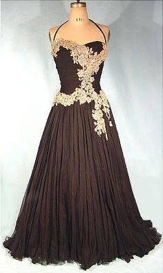 c. late 1940's BERGDORF GOODMAN Couture Black Silk Chiffon Ballgown with Sequined Lace