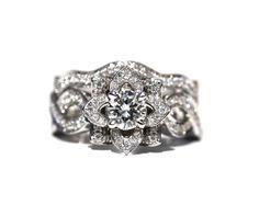 LOVE In BLOOM - flor rosa diamante anillo de compromiso y boda banda conjunto - 1,85 quilates - 14K oro blanco - personalizado - fL03-S