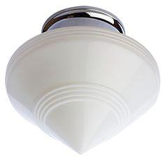 Art Deco Glass Shade Overhead Light Fixture Polished Chrome Finish Art Deco Glass Overhead Lighting Glass Shades