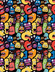 Artist: Chris Piascik ~ Title: Monster Faces Pattern ~ Medium: unknown ~ Size: multiple size prints available ~ I like that this artist used simple, bright colors and interlocked the monsters to create this fun pattern