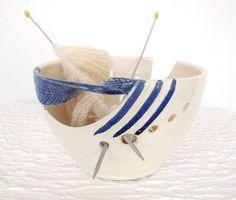 Blue Twisted Leaf Ceramic Yarn Holder Bowl, Knitting Bowl, Dots, Fresh White POTTERY stoneware clay on Etsy, $36.00