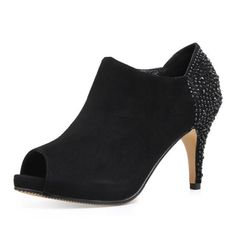 short boots black suede leather high heels peep toe