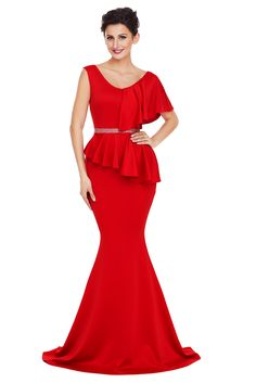 New style alert  Red Asymmetric Ruffle Peplum Mermaid Party Dress! Save up  to 85 4994b242f8d6