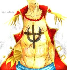 Marco the Phoenix, wearing Whitebeard's coat and Ace's beads.
