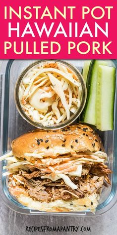 Easy Hawaiian Instant Pot Pulled Pork sandwiches with pineapple is tasty and tender. The perfect combination of tangy & sweet, this easy to make Hawaiian pulled pork shoulder / pork butt is perfect for easy midweek dinners, Luau celebrations, making into sliders, taking to potlucks, or packing on picnics & lunch boxes. Click through to get the best instant pot pulled pork recipe!! #instantpotrecipes #instantpot #pulledpork #hawaiian #porkshoulder #shreddedpork #pulledporkrecipe #pork