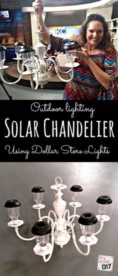 Light up your garden with this DIY Solar Chandelier Looking for unique garden lighting? Make this solar chandelier using a chandelier and dollar store solar lights. Add character to your outdoor lighting! Backyard Projects, Outdoor Projects, Garden Projects, Diy Projects, Project Ideas, Garden Ideas, Solar Projects, Diy Solar, Outdoor Fun