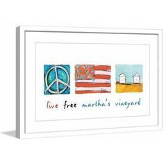 Marmont Hill Live Free Martha's Vineyard by Tori Campisi Painting Print in Frame, Size: 36 inch x 24 inch, Red