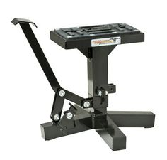 Motorcycle Dirt bike MX Offroad Black Lift Stand Suzuki RMZ Kawasaki KXF Honda CR  1 New Black Lift Stand  EASILY LIFTS BIKE BY STEPPING ON FOOT LEVER  MADE FROM 6061 ALUMINUM  HEAVY DUTY EXTRUDED ALUMINUM LIFT LEVER  FOOT ACTIVATED RELEASE TRIGGER  WIDE STABLE BASE  TWO CHOICES OF HEIGHTS LOW=11″-15″, HIGH=12″-17″  EXTRA THICK, OIL & GAS RESISTANT RUBBER PAD  MAX LIFT 300LBS 1 New Black Lift Stand 1 New Black Lift Stand EASILY LIFTS BIKE BY STEPPING ON FOOT LEVER 1 New Black Lift St..
