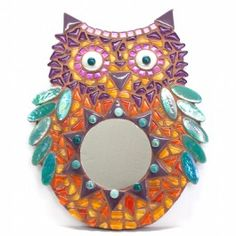 KIT - Furry Owl - No cutting need...Take a look into this Furry Owl's tummy and you will see the world through a magic mirror! Designed by Caroline of Roos Kleurig this kit contains everything you need to make a perfect decoration for a children's room. Kit contains, MDF base, tiles, decorations, glue, grout and photo instructions. No tools needed.  #mosaic
