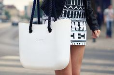White O Bag with black rope handles
