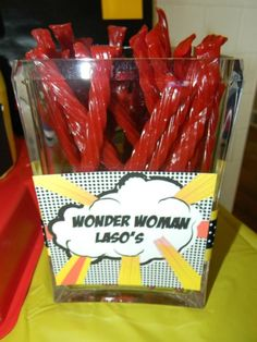 Superhero party Wonder Woman Lasos twizzlers- except use pull and peel, much yummier Girl Superhero Party, Superhero Baby Shower, Batman Party, Superhero Treats, Superhero Party Favors, Wonder Woman Birthday, Wonder Woman Party, Birthday Woman, 6th Birthday Parties