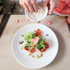 Watermelon takes on a nice char on the grill. Don& fiddle with the pieces; just flip them when it& time. Watermelon Salad Recipes, Grilled Watermelon, Watermelon Rind, Barbecue Sides, Rosemary Recipes, Fruit Dishes, Kinds Of Salad, Summer Salads, Bon Appetit